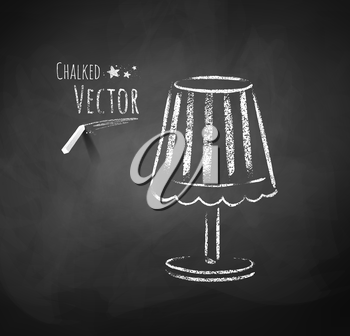 Chalkboard drawing of night lamp. Vector illustration. Isolated.