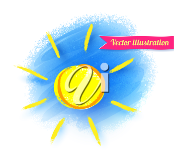 Hand drawn sketch of sun. Vector illustration. Isolated.