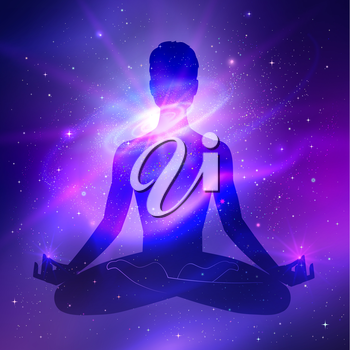 Outer space. Meditation. Male silhouette. Vector illustration.