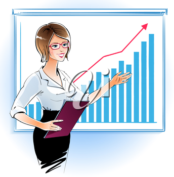 Business woman at a presentation. Vector illustration.
