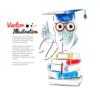 Owl sitting on books. Watercolor vector illustration. Isolated.