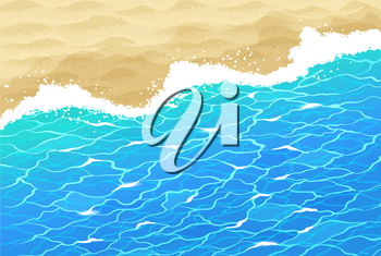 Vector background with sea surf, water ripple and beach sand.