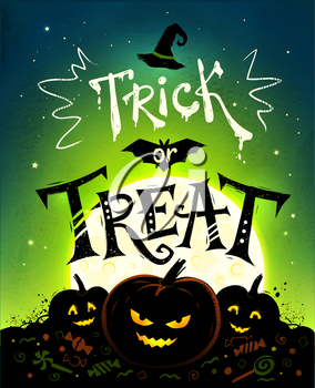 Trick or Treat Halloween poster with pumpkins, full moon and candies on green background.