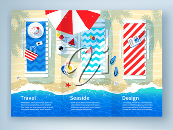 Leaflet design with summer illustration of sun beds, parasol and seaside accessories on beach sand background with sea surf.