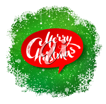 Merry Christmas hand written letters on red bubble banner on green winter snowflakes border background.