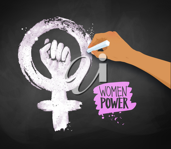 Vector illustration of women's hand drawing Feminism protest symbol with chalk on blackboard background.