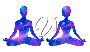 Vector set of illustrations with double exposure male and female silhouettes meditating with ultraviolet outer space background inside.