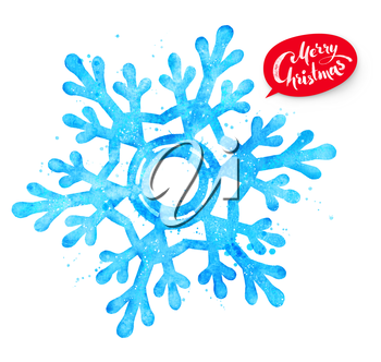 Watercolor illustration of snowflake with paint splashes.