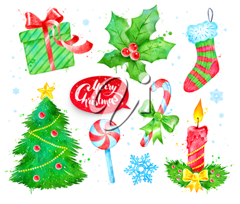 Watercolor illustrations set with Christmas symbols.