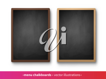Vector collection of vertical menu boards with dark and light frames isolated on white background.