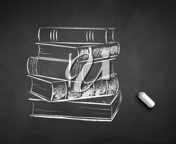 Vector black and white chalk drawn illustration of pile of books on black chalkboard background with piece of chalk.