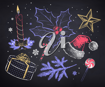 Vector chalked set of Christmas objects in retro vintage style on blackboard background.