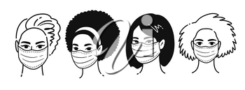 Vector black and white outline illustrations collection of female multiethnic portraits wearing protection medical masks isolated on white background. Coronavirus quarantine set.