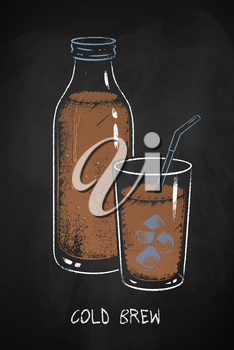 Cold Brew coffee cup isolated on black chalkboard background. Vector chalk drawn sideview grunge illustration.