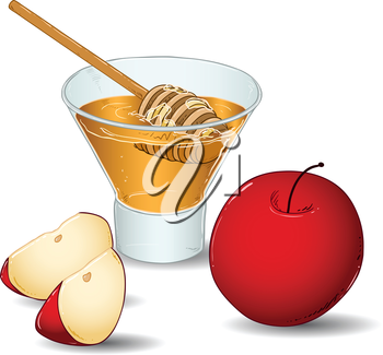 Royalty Free Clipart Image of an Apple and Honey Dippers