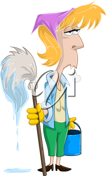 Vector illustration of a tired blond woman holding mop and bucket.