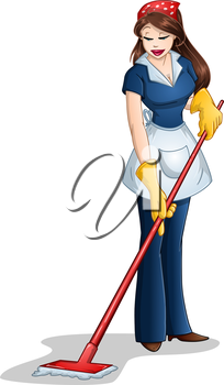Vector illustration of a woman cleaning with mop for Passover.