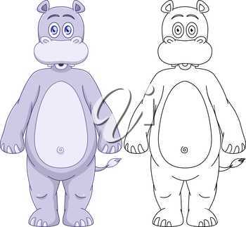 Vector illustration set of a cute purple hippo with lineart.