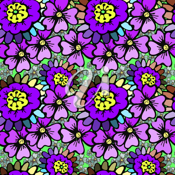 Vector graphic, artistic, stylized image of floral seamless pattern