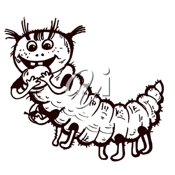 Vector graphic, artistic, stylized image of caterpillar