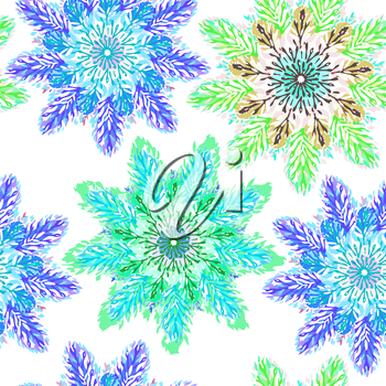 Vector graphic, artistic, Decorative seamless pattern with stylized flowers watercolor