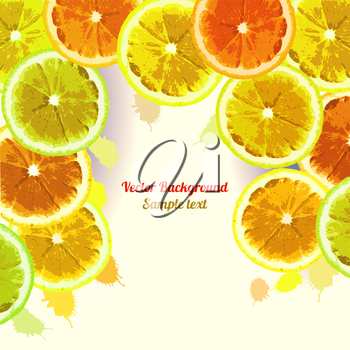 Vector greeting card, background with the image slices of orange, lemon, lime on a green background. Can be used to design advertising citrus. Space for text.