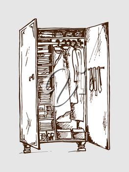 Vector graphic, artistic, stylized image of  wardrobe closet
