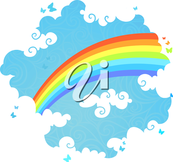 Illustration of rainbow, blue sky, white clouds and flying butterflies with blank place for your text.
