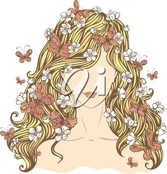 Illustration of woman with flowers and butterflies in her hair isolated on white background.