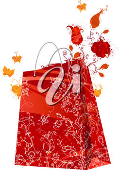 Red watercolor flowers grow out of a red shopping bag. Grunge illustration.