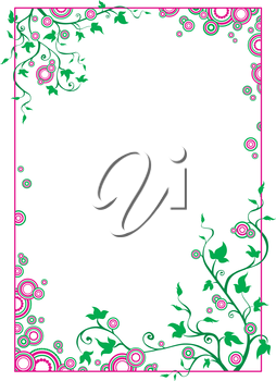 Green and pink border with circles for your design.