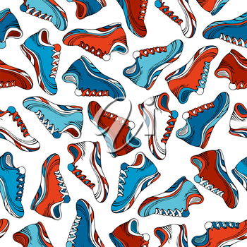 Colourful jogging shoes on white backgrounds. Sport boundless pattern.