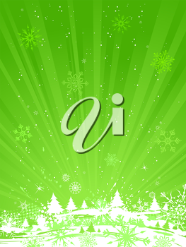 Grunge green background with snowflakes, firs and stains. There is copy space for your text.