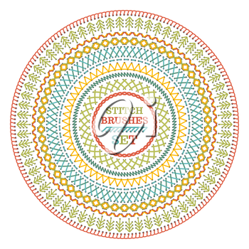Circle sewing pattern isolated on white background. All used pattern brushes included.