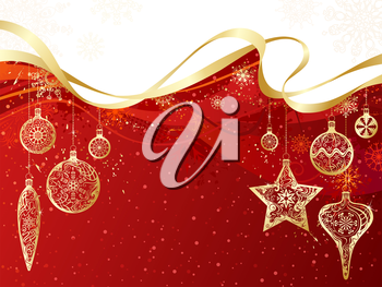Gold Christmas decorations and snowflakes on grunge red background. There is copy space for your text on red and white areas.