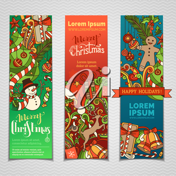 Three vertical templates for your festive design. Christmas decorations and hand-lettering. Christmas tree and baubles, snowman and gingerbread man, deer and gifts, bells.