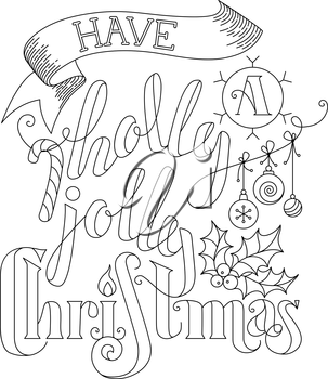 Linear hand-written lettering, candy cane, Christmas baubles, ribbon and holly berry on white background. Black and white illustration.