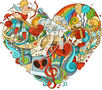 Vector illustration for your romantic background. Cupid, gift, balloons, ring, swirls and ribbons, music notes and others symbols.