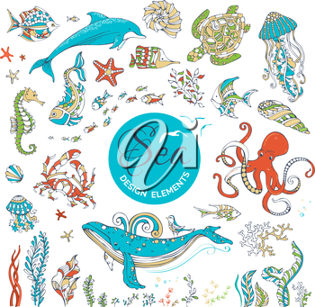 Ocean animals and plants isolated on white. Whale, dolphin, turtle, fish, octopus, starfish, crab, shell, jellyfish, seahorse, algae. Colourful icons.
