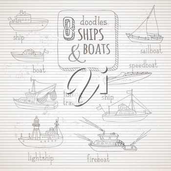 Various hand-drawn ships and boats on old vintage striped background. Lightship, fireboat, fishing trawler, speedboat, sailboat and motorboat.