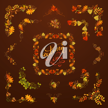 Flourishes, swirls, corners, frames, page decorations and dividers on dark brown background. Oak, rowan, maple, chestnut, elm leaves and acorn.