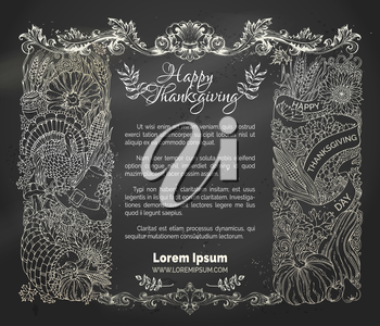 Vector traditional festive symbols and food. Turkey, cornucopia, pumpkin, corn, wheat, autumn leaves and others. Hand-drawn design elements on blackboard background.