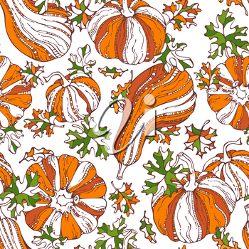 Set of various bright orange pumpkins and green leaves on white background. Thanksgiving day. Harvest time. Boundless background for your autumn design.