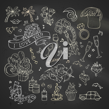 Cartoon romantic design elements on blackboard background. Valentine's symbols.