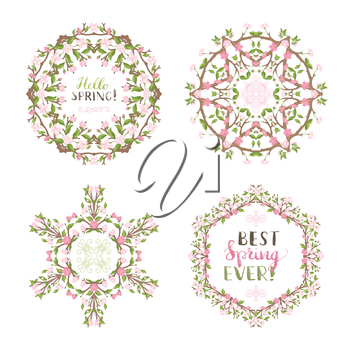 Frames of cherry blossoms on branches. Handwritten grunge brush lettering. There is copyspace for your text in the center.