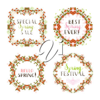 Red spring flowers and leaves on tree branches. Hand-written lettering and flourishes. Page seasonal decorations isolated on white background.