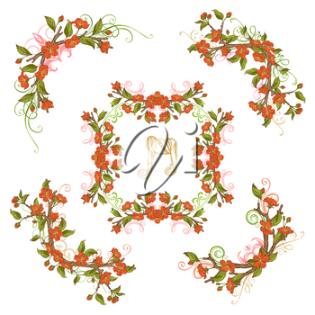 Floral ornaments isolated on white background. Red blossoms and leaves on tree branches. Hand-drawn flourishes.