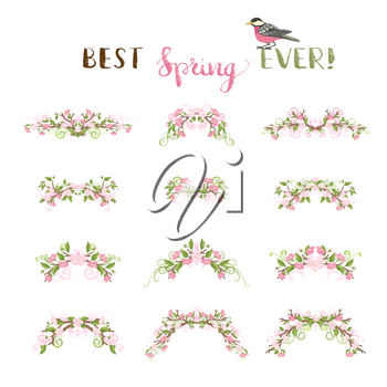 Vector cherry flowers, leaves and flourishes on branches. Ornate decorations isolated on white background.
