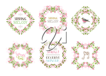 Spring cherry blossoms, leaves, branches, birds and flourishes. Page decorations and ornaments isolated on white background. Hand-written lettering.