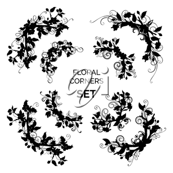 Silhouettes of flowers and leaves on tree branches. Hand-drawn flourishes. Isolated on white background.